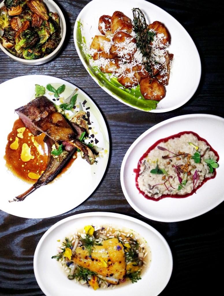 wolf dining la -- Brussels Sprouts, fish caramel, tokyo turnips, lime / Crispy Potato, chive aioli, rosemary, horseradish / Vadouvan Lamb Rack, romanesco, lebneh, artichoke, olive, jus / Mushroom Risotto, pine nut, bulls blood, beet reduction / White Miso Black Cod, watermelon radish, bean sprouts, dashi, wasabi greens
